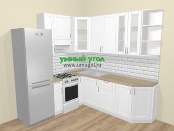 Угловая кухня МДФ матовый  в скандинавском стиле 6,7 м², 210 на 230 см, Белый, верхние модули 92 см, холодильник, отдельно стоящая плита