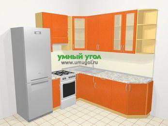 Угловая кухня МДФ металлик в современном стиле 6,7 м², 210 на 230 см, Оранжевый металлик, верхние модули 92 см, холодильник, отдельно стоящая плита
