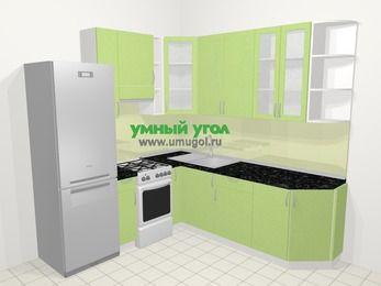 Угловая кухня МДФ металлик в современном стиле 6,7 м², 210 на 230 см, Салатовый металлик, верхние модули 92 см, холодильник, отдельно стоящая плита