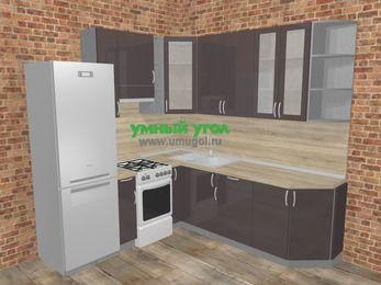 Угловая кухня МДФ глянец в стиле лофт 6,7 м², 210 на 230 см, Шоколад, верхние модули 92 см, холодильник, отдельно стоящая плита