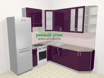 Угловая кухня МДФ глянец в современном стиле 6,7 м², 210 на 230 см, Баклажан, верхние модули 92 см, холодильник, отдельно стоящая плита