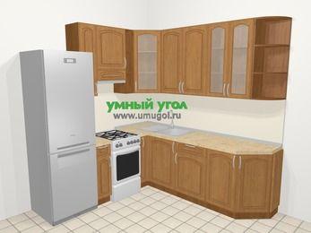 Угловая кухня МДФ патина в классическом стиле 6,7 м², 210 на 230 см, Ольха, верхние модули 92 см, холодильник, отдельно стоящая плита