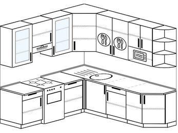 Угловая кухня 6,7 м² (2,1✕2,3 м), верхние модули 92 см, модуль под свч, отдельно стоящая плита