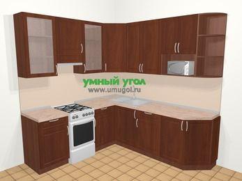 Угловая кухня МДФ матовый в классическом стиле 6,7 м², 210 на 230 см, Вишня темная, верхние модули 92 см, модуль под свч, отдельно стоящая плита