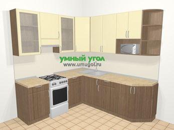 Угловая кухня МДФ матовый в современном стиле 6,7 м², 210 на 230 см, Ваниль / Лиственница бронзовая, верхние модули 92 см, модуль под свч, отдельно стоящая плита