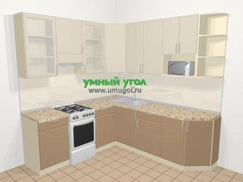 Угловая кухня МДФ матовый в современном стиле 6,7 м², 210 на 230 см, Керамик / Кофе, верхние модули 92 см, модуль под свч, отдельно стоящая плита