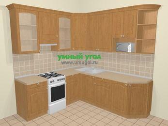 Угловая кухня МДФ матовый в стиле кантри 6,7 м², 210 на 230 см, Ольха, верхние модули 92 см, модуль под свч, отдельно стоящая плита