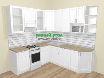 Угловая кухня МДФ матовый  в скандинавском стиле 6,7 м², 210 на 230 см, Белый, верхние модули 92 см, модуль под свч, отдельно стоящая плита