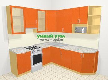 Угловая кухня МДФ металлик в современном стиле 6,7 м², 210 на 230 см, Оранжевый металлик, верхние модули 92 см, модуль под свч, отдельно стоящая плита
