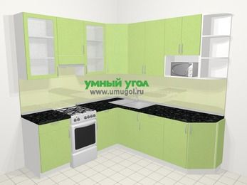 Угловая кухня МДФ металлик в современном стиле 6,7 м², 210 на 230 см, Салатовый металлик, верхние модули 92 см, модуль под свч, отдельно стоящая плита