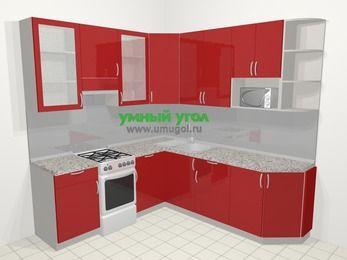 Угловая кухня МДФ глянец в современном стиле 6,7 м², 210 на 230 см, Красный, верхние модули 92 см, модуль под свч, отдельно стоящая плита