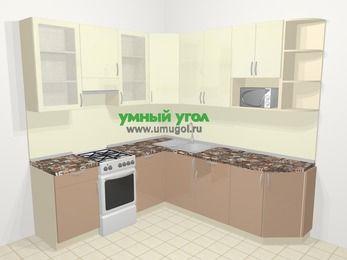 Угловая кухня МДФ глянец в современном стиле 6,7 м², 210 на 230 см, Жасмин / Капучино, верхние модули 92 см, модуль под свч, отдельно стоящая плита