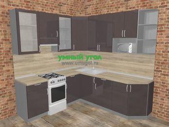 Угловая кухня МДФ глянец в стиле лофт 6,7 м², 210 на 230 см, Шоколад, верхние модули 92 см, модуль под свч, отдельно стоящая плита