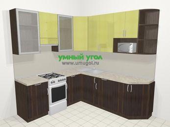 Кухни пластиковые угловые в современном стиле 6,7 м², 210 на 230 см, Желтый Галлион глянец / Дерево Мокка, верхние модули 92 см, модуль под свч, отдельно стоящая плита
