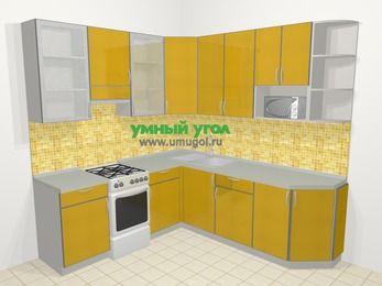 Кухни пластиковые угловые в современном стиле 6,7 м², 210 на 230 см, Желтый глянец, верхние модули 92 см, модуль под свч, отдельно стоящая плита