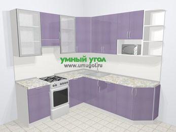 Кухни пластиковые угловые в современном стиле 6,7 м², 210 на 230 см, Сиреневый глянец, верхние модули 92 см, модуль под свч, отдельно стоящая плита