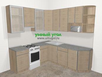 Кухни пластиковые угловые в стиле лофт 6,7 м², 210 на 230 см, Чибли бежевый, верхние модули 92 см, модуль под свч, отдельно стоящая плита