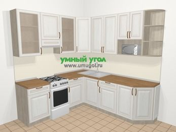 Угловая кухня МДФ патина в классическом стиле 6,7 м², 210 на 230 см, Лиственница белая, верхние модули 92 см, модуль под свч, отдельно стоящая плита