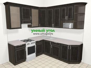 Угловая кухня МДФ патина в классическом стиле 6,7 м², 210 на 230 см, Венге, верхние модули 92 см, модуль под свч, отдельно стоящая плита