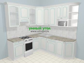 Угловая кухня МДФ патина в стиле прованс 6,7 м², 210 на 230 см, Лиственница белая, верхние модули 92 см, модуль под свч, отдельно стоящая плита