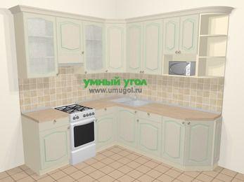 Угловая кухня МДФ патина в стиле прованс 6,7 м², 210 на 230 см, Керамик, верхние модули 92 см, модуль под свч, отдельно стоящая плита