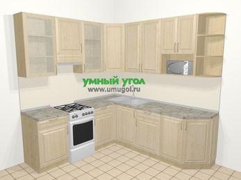 Угловая кухня из массива дерева в классическом стиле 6,7 м², 210 на 230 см, Светло-коричневые оттенки, верхние модули 92 см, модуль под свч, отдельно стоящая плита