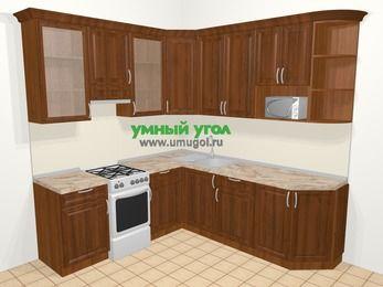 Угловая кухня из массива дерева в классическом стиле 6,7 м², 210 на 230 см, Темно-коричневые оттенки, верхние модули 92 см, модуль под свч, отдельно стоящая плита