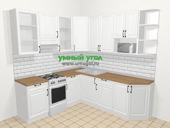 Угловая кухня из массива дерева в скандинавском стиле 6,7 м², 210 на 230 см, Белые оттенки, верхние модули 92 см, модуль под свч, отдельно стоящая плита