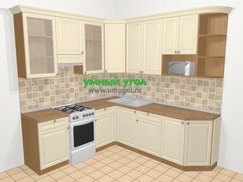 Угловая кухня из массива дерева в стиле кантри 6,7 м², 210 на 230 см, Бежевые оттенки, верхние модули 92 см, модуль под свч, отдельно стоящая плита