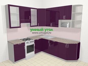 Угловая кухня МДФ глянец в современном стиле 6,7 м², 210 на 230 см, Баклажан, верхние модули 92 см, модуль под свч, отдельно стоящая плита