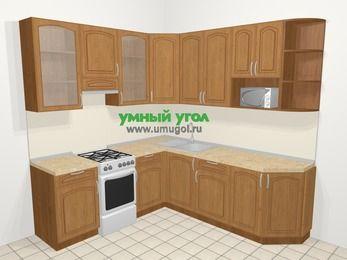 Угловая кухня МДФ патина в классическом стиле 6,7 м², 210 на 230 см, Ольха, верхние модули 92 см, модуль под свч, отдельно стоящая плита