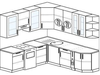 Угловая кухня 6,7 м² (2,1✕2,3 м), верхние модули 92 см, отдельно стоящая плита