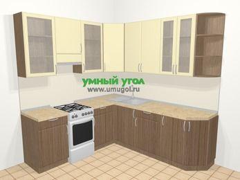 Угловая кухня МДФ матовый в современном стиле 6,7 м², 210 на 230 см, Ваниль / Лиственница бронзовая, верхние модули 92 см, отдельно стоящая плита