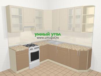 Угловая кухня МДФ матовый в современном стиле 6,7 м², 210 на 230 см, Керамик / Кофе, верхние модули 92 см, отдельно стоящая плита