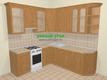 Угловая кухня МДФ матовый в стиле кантри 6,7 м², 210 на 230 см, Ольха, верхние модули 92 см, отдельно стоящая плита