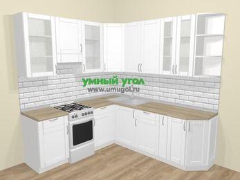 Угловая кухня МДФ матовый  в скандинавском стиле 6,7 м², 210 на 230 см, Белый, верхние модули 92 см, отдельно стоящая плита