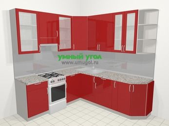 Угловая кухня МДФ глянец в современном стиле 6,7 м², 210 на 230 см, Красный, верхние модули 92 см, отдельно стоящая плита