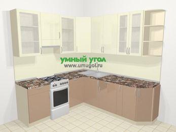 Угловая кухня МДФ глянец в современном стиле 6,7 м², 210 на 230 см, Жасмин / Капучино, верхние модули 92 см, отдельно стоящая плита