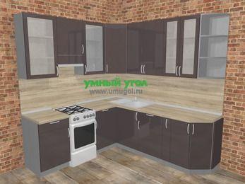 Угловая кухня МДФ глянец в стиле лофт 6,7 м², 210 на 230 см, Шоколад, верхние модули 92 см, отдельно стоящая плита