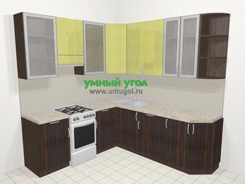 Кухни пластиковые угловые в современном стиле 6,7 м², 210 на 230 см, Желтый Галлион глянец / Дерево Мокка, верхние модули 92 см, отдельно стоящая плита