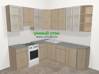 Кухни пластиковые угловые в стиле лофт 6,7 м², 210 на 230 см, Чибли бежевый, верхние модули 92 см, отдельно стоящая плита