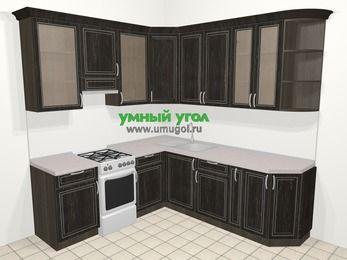 Угловая кухня МДФ патина в классическом стиле 6,7 м², 210 на 230 см, Венге, верхние модули 92 см, отдельно стоящая плита