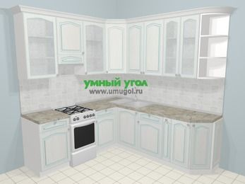 Угловая кухня МДФ патина в стиле прованс 6,7 м², 210 на 230 см, Лиственница белая, верхние модули 92 см, отдельно стоящая плита