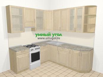 Угловая кухня из массива дерева в классическом стиле 6,7 м², 210 на 230 см, Светло-коричневые оттенки, верхние модули 92 см, отдельно стоящая плита