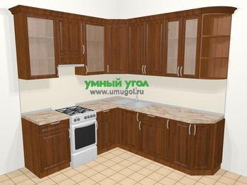 Угловая кухня из массива дерева в классическом стиле 6,7 м², 210 на 230 см, Темно-коричневые оттенки, верхние модули 92 см, отдельно стоящая плита