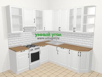 Угловая кухня из массива дерева в скандинавском стиле 6,7 м², 210 на 230 см, Белые оттенки, верхние модули 92 см, отдельно стоящая плита
