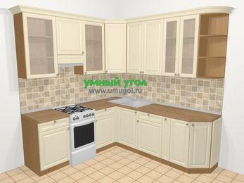 Угловая кухня из массива дерева в стиле кантри 6,7 м², 210 на 230 см, Бежевые оттенки, верхние модули 92 см, отдельно стоящая плита