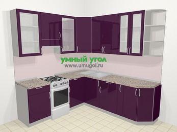 Угловая кухня МДФ глянец в современном стиле 6,7 м², 210 на 230 см, Баклажан, верхние модули 92 см, отдельно стоящая плита