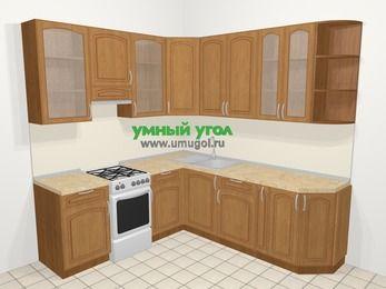 Угловая кухня МДФ патина в классическом стиле 6,7 м², 210 на 230 см, Ольха, верхние модули 92 см, отдельно стоящая плита