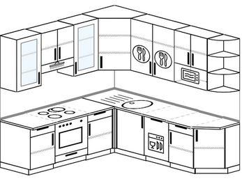 Угловая кухня 6,7 м² (2,1✕2,3 м), верхние модули 92 см, посудомоечная машина, модуль под свч, встроенный духовой шкаф